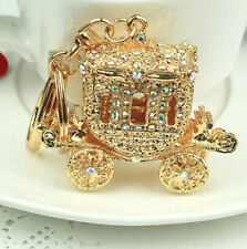 FD2750 Crystal Wedding Royal Carriage Keyring Charm Pendant Purse Bag Key Chain♫