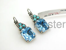 MARIANA SQUARE-CUT SILVER EARRINGS Swarovski Crystal Sapphire Blue Turquoise