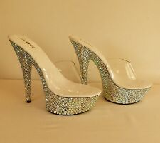 stunning sparkly AB rhinestone pole dance stripper high heels size 3