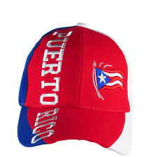 Puerto Rico Baseball Hat Cap 3D Embroidered Flag Red Front Blue White Sides
