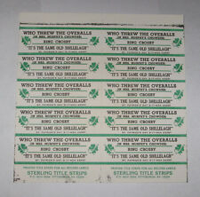 Bing Crosby Full Sheet of 10 Jukebox Title Strips It's The Same Old Shillelagh