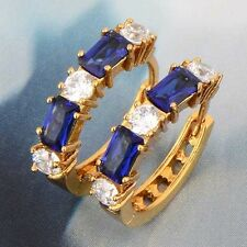 Womens 14K Yellow Gold Plated Blue Sapphire Rhinestone Cute Round Hoop Earrings
