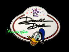 DONALD Duck - NAME BADGE  Disneyland HK 2010 Disney Mystery Pin