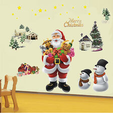 Removable Christmas Tree Santa Claus Vinyl Wall Stickers for Room Decoration New