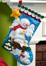 "Bucilla Snow Angel ~ 18"" Felt Christmas Stocking Kit #86646, Nativity, Snowman"