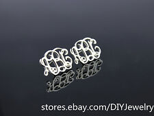 Personalized 925 Sterling Silver Monogram Initials Name Custom Stud Earrings (1)