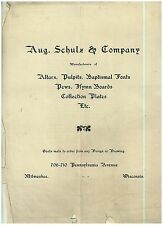 1900s Ad Sheet Aug. Schulz & Co Milwaukee Manufacturers of Alters, Pews Pulpits