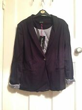 Women's Black Tuxedo Style Jacket with Striped Lining Size 10 by Beautiful You