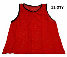 WORKOUTZ YOUTH SCRIMMAGE VESTS RED (12 QTY) SOCCER PINNIES MESH BIBS CHILD KIDS