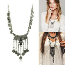 Vintage Woman Bohemian Gypsy Coin Tassel Silver Long Chain Pendant Necklace
