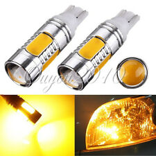 2x Amber Yellow T10 168 194 W5W 7.5W COB LED Car Signal Tail Turn Light DC12V