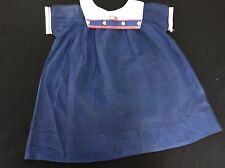 Vintage Size 3X Little Girls Navy Blue Sailor Dress