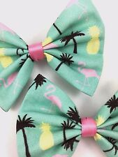 Perfect Summer Mint Handmade Hair Bow with Flamingos Palm Trees and Pineapples