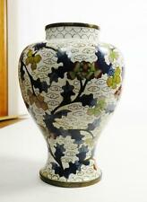 h128 OLD CHINESE CLOISSONE ENAMEL ON BRASS VASE, WHITE GROUND FLORAL