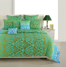 Swayam Green and Blue Colour Ethnic Print Double Bed Sheet with Pillow Covers