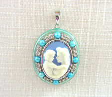 2.00ct Topaz,Freshwater Pearl,Cameo,Enamel 925 Sterling Silver Necklace