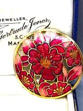 Lovely Rich Pink Red Enamel Flower Brooch