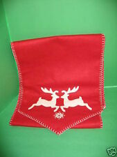 Christmas Holiday Reindeer Kitchen Dining Room Table Runner Decoration Red
