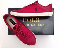 Polo Ralph Lauren 9.5 Men NEW Red Canvas Leather Sneaker Shoe Pony Low Lace BOX