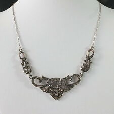 Stunning Vintage Silver Marcasite Necklace Art Nouveau Style Marked 925