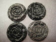 Snowflakes Obsidian Carved Pendants 4pcs