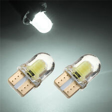 2x T10 W5W COB 8 SMD LED Silica Bright White Coche License Light Bulb 12V