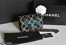 AUTHENTIC NEW CHANEL WOVEN BRAIDED LEATHER MINI FLAP BAG CC LOGO BLK & WHT RARE