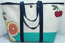 Tory Burch Penn Fruit Applique Canvas Zip Tote Handbag Shoulder Natural Bag NWT