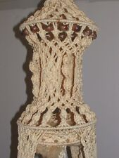 VTG Macrame Plant Hanger Wooden Beads Hoop Skirt For Table over 6 Feet Tall