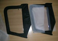 1997-2006 Jeep Wrangler Soft Top Front Upper Door Windows Pair in Black