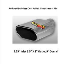 "Brand New Polished Stainless Rolled Oval Slant Exhaust Tip 2 1/4"" IN 5 1/2 X3 O"