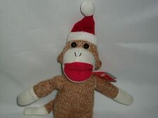 Brown Sock Monkey Plush Christmas Holiday Santa Hat Doll Toy Stuffed Animal