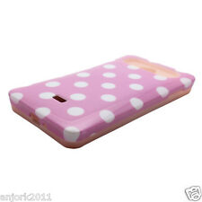 LG Spirit 4G Metro PCS Hybrid Hard Case Skin Pastel Cover Light Pink White Dots