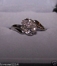 Kay Jewelers .30ct pave diamond sterling silver 925 Cluster 3 Flower Ring JWBR 7