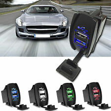 12/24V LED USB Car charger Dual Twin Port Cigarette Cigar Lighter Socket Adapter