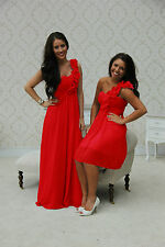 1 SHOULDER CHIFFON BRIDESMAID DRESS WEDDING PROM EVENING LONG SHORT MAXI EVE