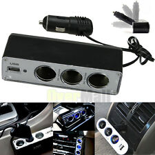 3 Way Cigarette lighter Socket Splitter 12 /24V DC Power Car Adapter + USB Port