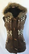 Women's 8 All About Eve Sweater Faux Fur Suede Hoodie Vest Wooden Buttons Brown