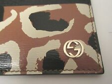 AUTHENTIC Gucci Card holder business card holder Leopard design 334483