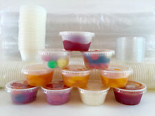 50 Cups with 50 Lids - Choice 2 oz. LARGE PLASTIC CUP JELLO Souffle Shot Portion