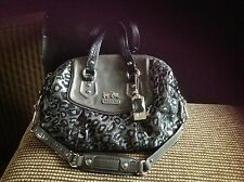 Coach Ocelot Leopard Black Grey Silver Purse