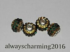 BIG HOLE EMERALD/CITRINE RHINESTONE RESIN RONDELLE SPACER BEAD FOR JEWELRY