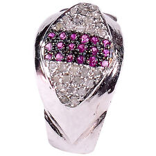 0.92. ct REAL ROUGH NATURAL DIAMOND .925 STERLING SILVER RING SIZE 7 see video