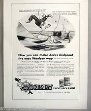 Woolsey Yacht Boat Deck Paint PRINT AD - 1948 ~~ Minnie the Mermaid cartoon