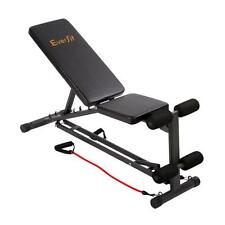 Fitness Exercise Home Gym Weight Training Flat Incline Bench w/ Resistance Bands