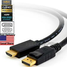 6FT 1.8m DisplayPort DP Male to HDMI Male Video Audio HDTV Converter Cable Cord