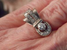 14k wg Vintage Estate Art Deco Retro Diamond Ring 0.38 tcw