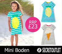 New Mini Boden Girls Lemon Print Striped Cotton T-shirt Dress in Turquoise