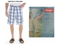 Men's cargo shorts Wrangler brand white and blue plaids size 34 new with tags