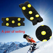 1Pair Anti Slip Snow Ice Climbing Spikes Grips Crampon Cleats 5-Stud Shoes Cover